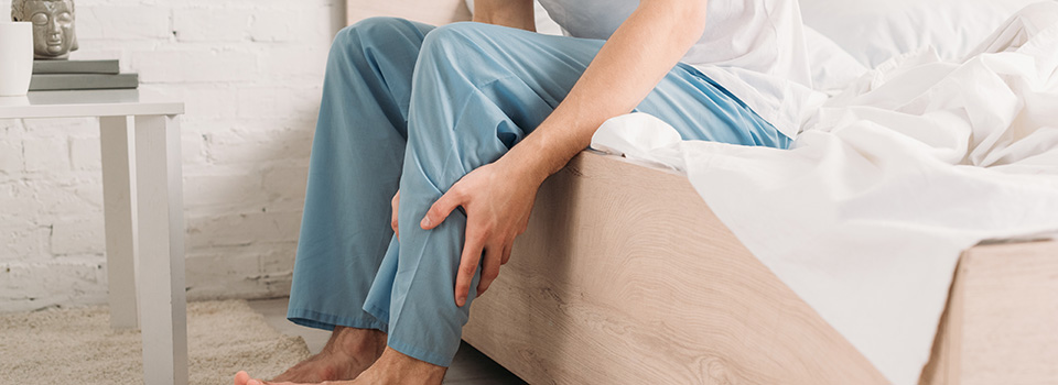 adult male with leg pain